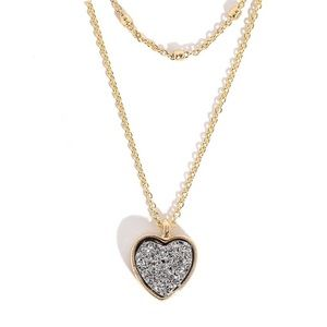 Gunmetal Heart Layered Gold Dainty Necklace
